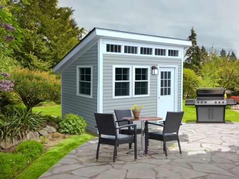 "Lifestyle Building | Sheds USA-    Sizes: 8x10 to 12x16.  40"" Double Door with keyed lock. Transom Window. Extended Overhang. 9' front wall and 6' backwall. Choice of door and window placement."