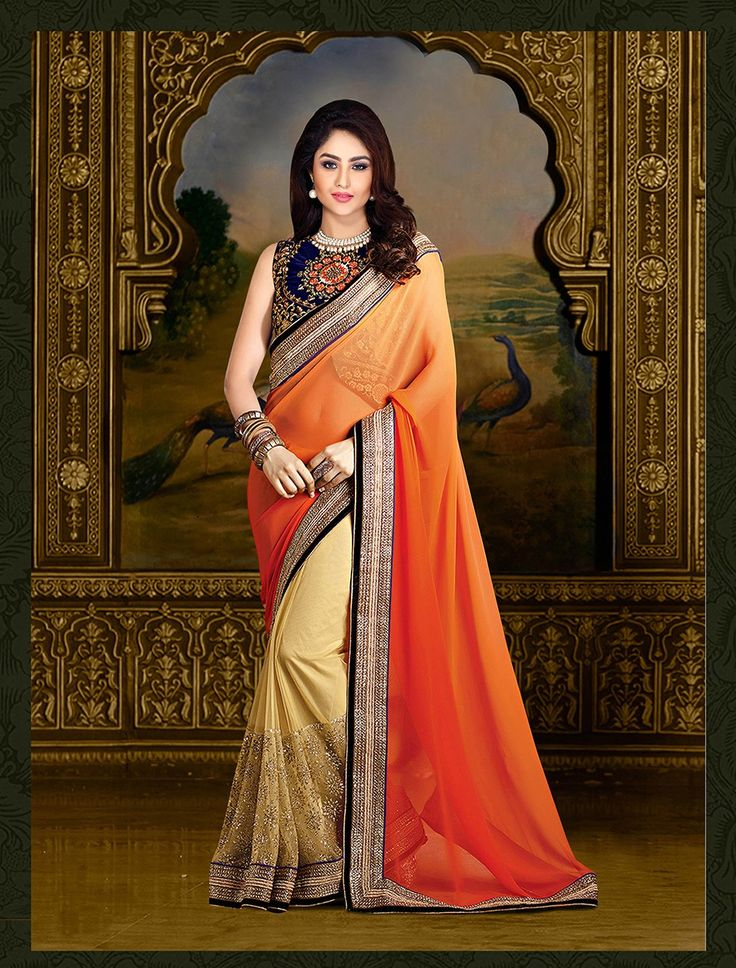 Orange designer chiffon saree online at very inexpensive price, to make it yours just click on this link http://www.zipker.com/fabliva-orange-thredwork-chiffone-saree.html
