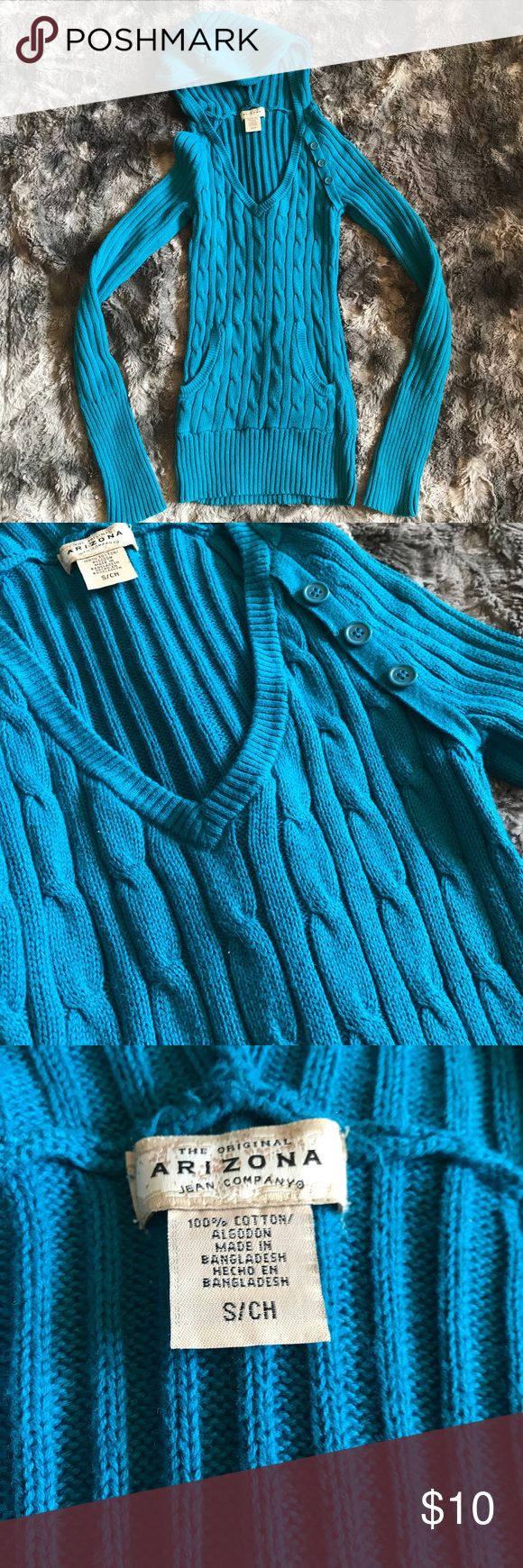 """Small Arizona hoodie sweater teal blue Women's or Juniors size small sweater by Arizona. It is a hoodie style, v-neck with a pocket and button accents. It will stretch out to fit. Never worn! Length-24"""" armpit to armpit-14"""" Arizona Jean Company Sweaters V-Necks"""