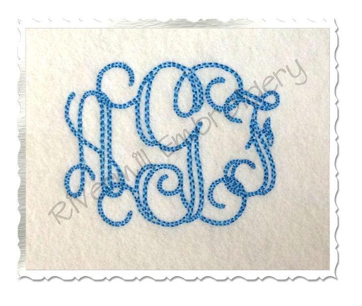 Inch size only bean stitch vine monogram machine