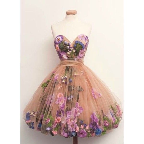Dress: prom pink hipster flowers short romantic fashion floral pretty... ❤ liked on Polyvore featuring dresses