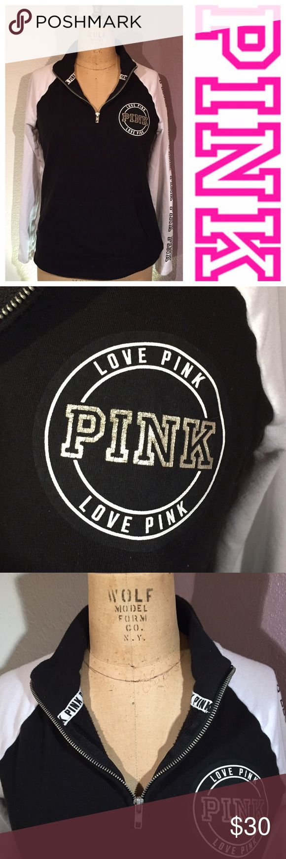 Black and white PINK half-zipper pullover 💕 I am selling this black and white PINK half-zipper pullover size small 💕 no holes or stains! PINK Victoria's Secret Tops Sweatshirts & Hoodies