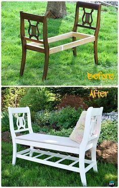 DIY Broken Chair Garden Bench Instructions - Outdoor Garden Bench Ideas #woodworkingbench