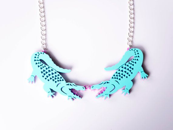 Alligator Necklace. Crocodile Statement by designosaurYEAH on Etsy