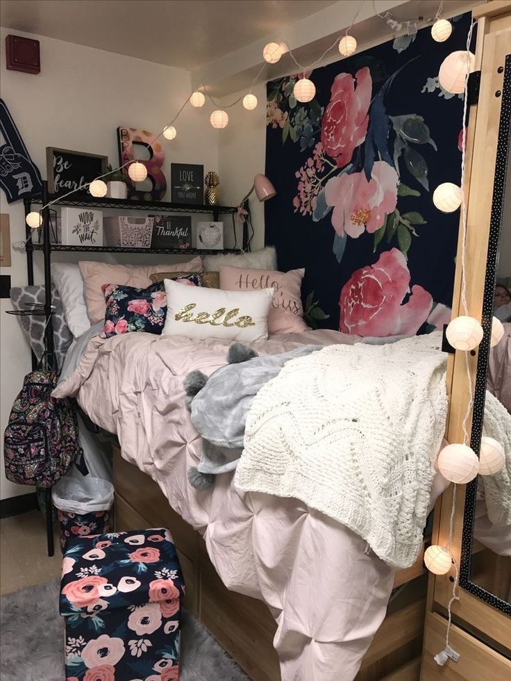 CUTE college girl dorm room inspiration, floral roses white pink red black, lights
