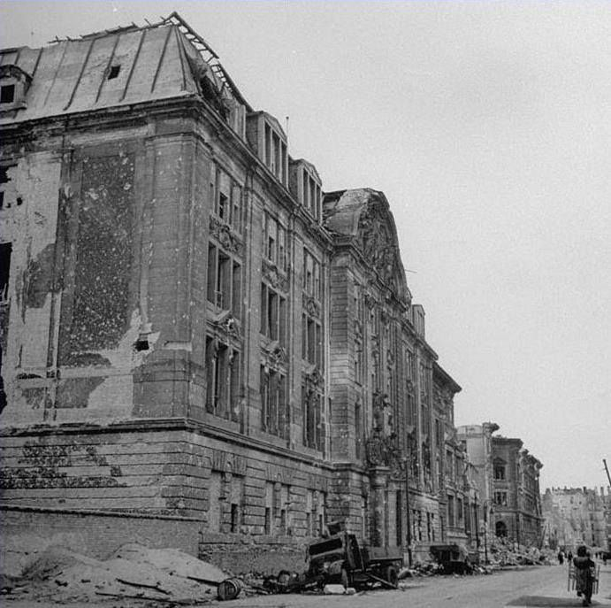 Gestapo HQ, RSHA, Prinz-Albrecht-Strasse 8, Berlin. Late April 1945 after the bombings.