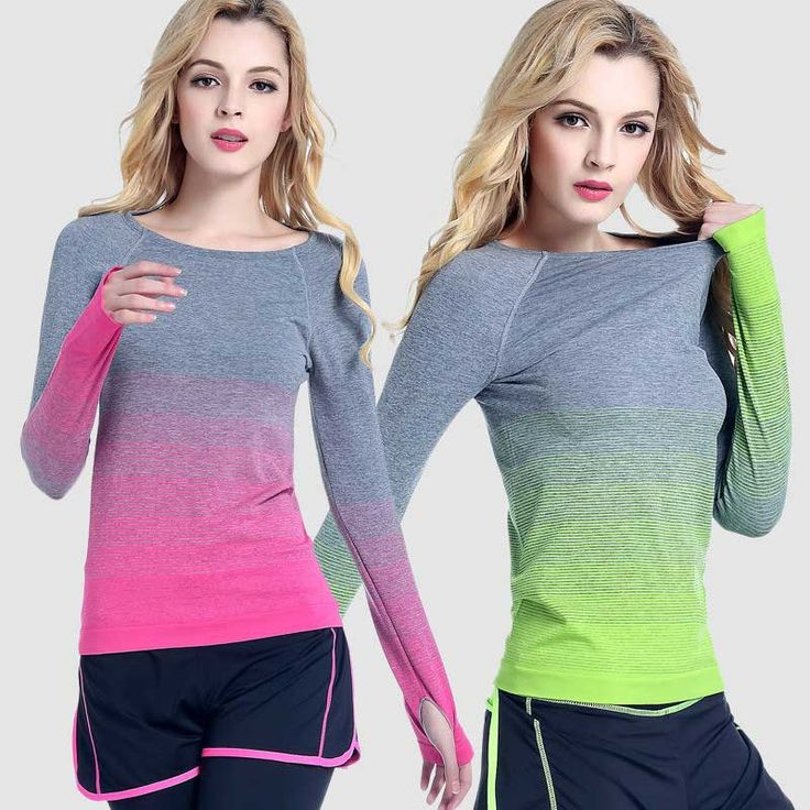 Women Pro Running Long Tee Compress Gym T Shirt Fitness Clothing Sport T-shirt Yoga Excesice Bodybuilding Workout Training Top
