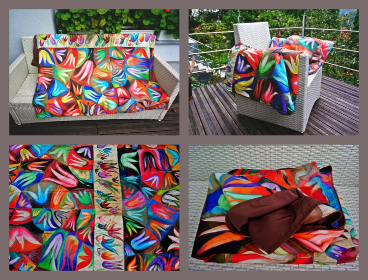 Handmade painted blanket- 100% natural silk 200x150cm  270eur