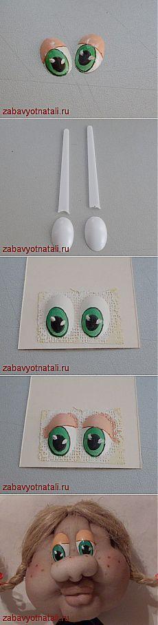 Глазки из пластиковой ложки | Забавы от Натальи