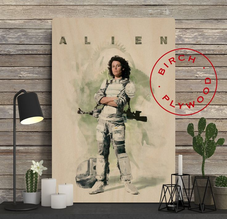 ALIEN - Poster on Wood, Sigourney Weaver, Tom Skerritt, John Hurt, Movie Poster, Alien Poster, Alien Movie, Unique Gift, Wood Gift by InHousePrinting on Etsy
