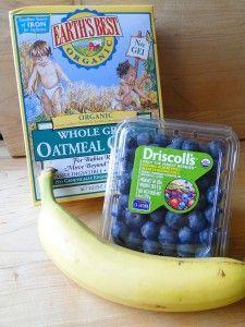 Creative baby food recipes like roasted blueberry and banana oatmeal