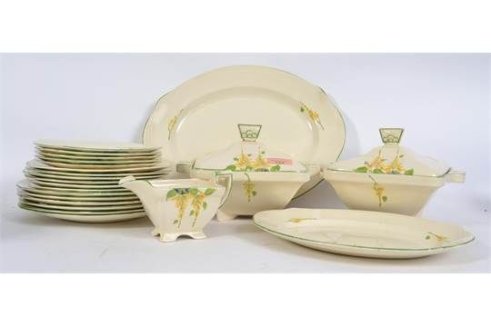 A hand painted 1930s Art Deco dinner service by Burleigh Ware consisting of plates, serving trays tureens etc. East Bristol Auctioin Apr 2017. Est GBP25-40. 2 Bids up to GBP18. Pattern?