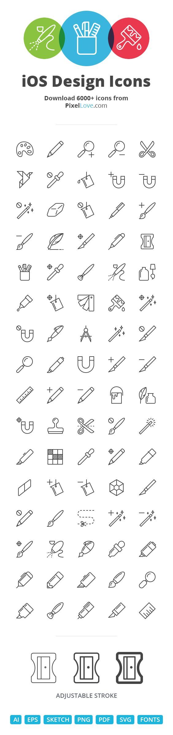 Arguably the largest  #iOS icon pack available with 5000+ #icons. Designed on pixel grids ensuring razor sharp detail for tab bars, toolbars and 3D Touch menus as well as Android actions and notifications.