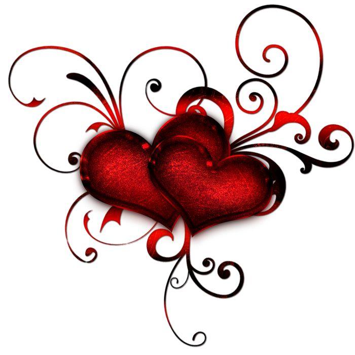 Twee harten versiert