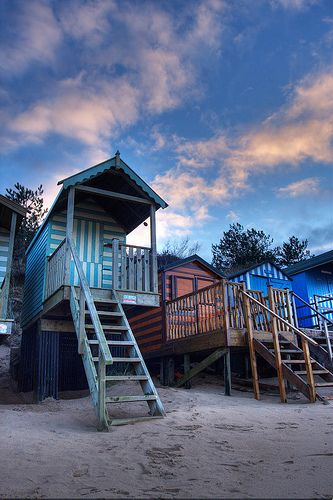 love the colors of these beach huts