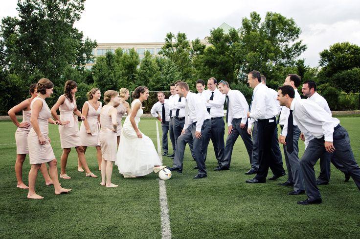Fun wedding soccer photos - light pink bridesmaids dresses