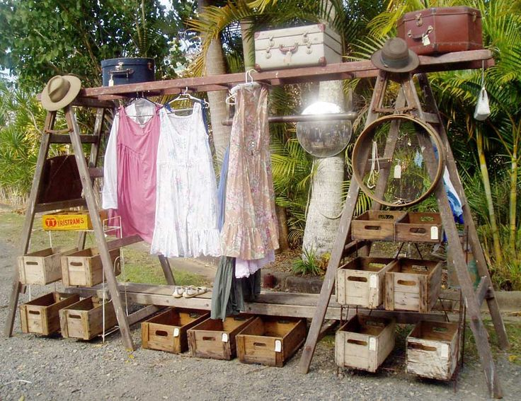 creative trestle ladder, cordial crate and wire plant stand wardrobe with antique timber ladders heaths old wares collectables and industrial antiques 12 station st bangalow nsw ph 02 6687 2222