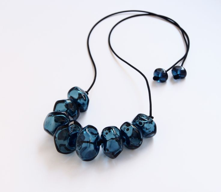 Avril Bowie - Steel blue glass necklace - all hand crafted glass work