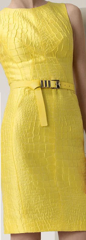 Versace yellow python jacquard dress..Yellow - perfect for spring. LOVE the texture.