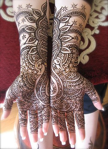 Mehendi - The traditional art of henna painting in India, North Africa,  and the Middle East.  You may see it written as mehendi, henna, henna tattoo and a myriad other names.