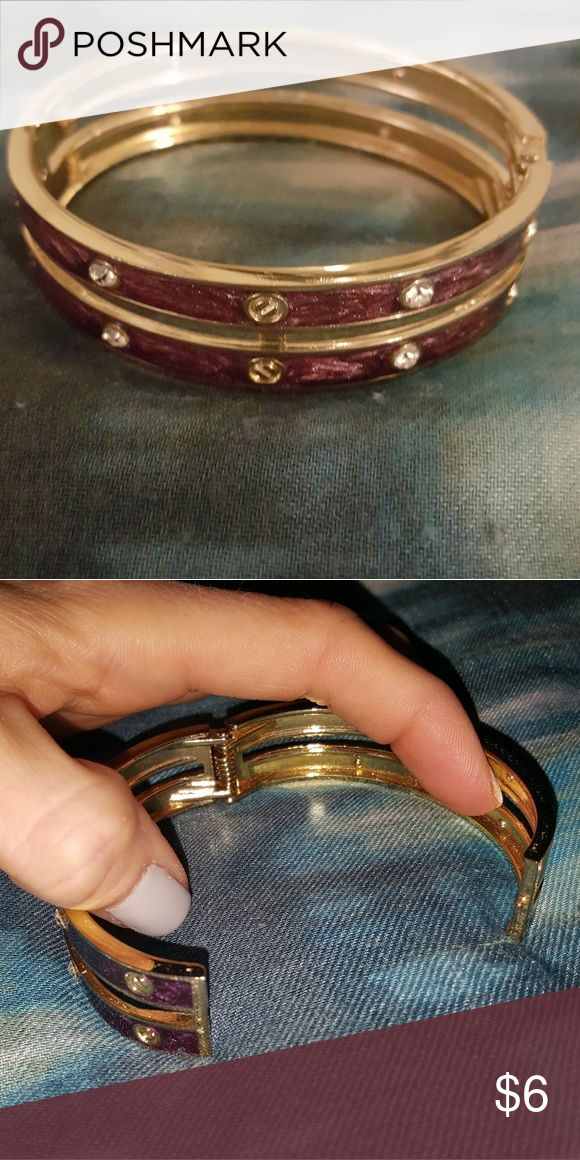 Gold and purple bangle bracelet with spring hinge Gold overlay and purple bangle Opens with spring hinge Costume jewelry Diamond decoration Charming Charlie Jewelry Bracelets