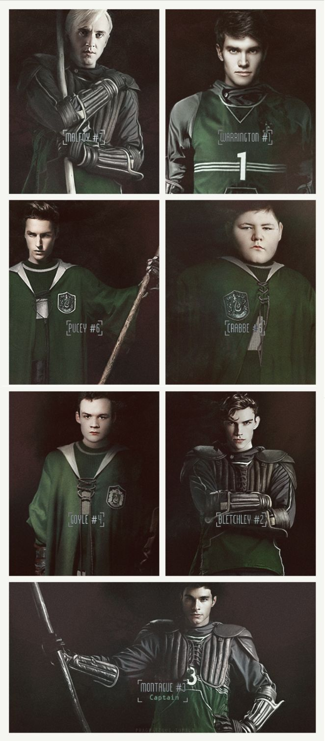 1995-1996 Slytherin Quidditch Team: Cassius Warrington - Chaser; Miles Bletchley - Keeper; Graham Montague - Chaser/Captain; Gregory Goyle - Beater; Vincent Crabbe - Beater; Adrian Pucey - Chaser; Draco Malfoy - Seeker