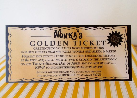 WILLY WONKA Golden Ticket Invitation  Digital by SweetLex on Etsy