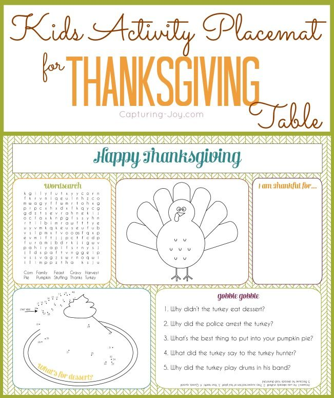 Free Printable Kids Activity Placemat for Thanksgiving Table