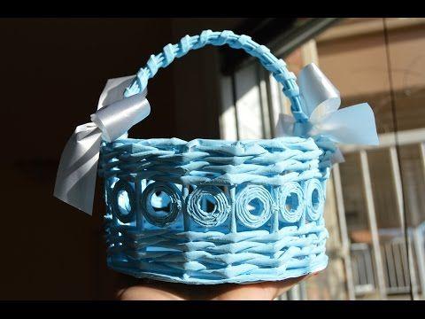 Голубая пасхальная корзинка из бумажных трубочек - YouTube