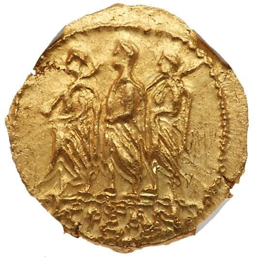 SKYTHIA. Geto-Dacians. <I>Koson. </I> Mid 1st Centtury BC. Gold Stater (8.44 g) Roman consul accompanied by two lictors advancing left; monogram to left. Eagle standing left on scepter, holding wreath. RPC I 1701A; BMC Thrace p. 208, 1. #Coins #Gold #Ancient #MADonC