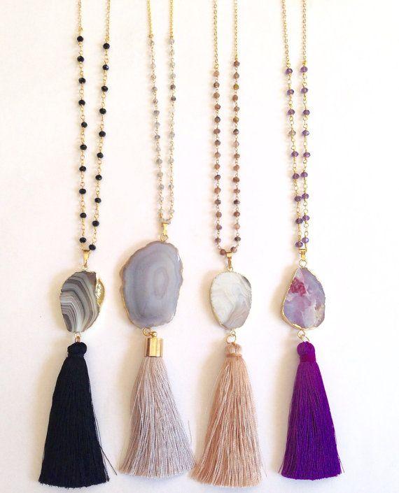 SALE 20% OFF Agate tassel necklace Long von elsajaeboutique auf Etsy