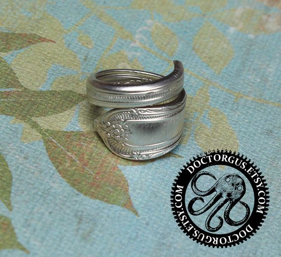 Cotillion 1937 Spoon Ring - Handmade by Doctorgus from Recycled Vintage Silverware - Repurposed Sterling Silver Plated Spoon Jewelry