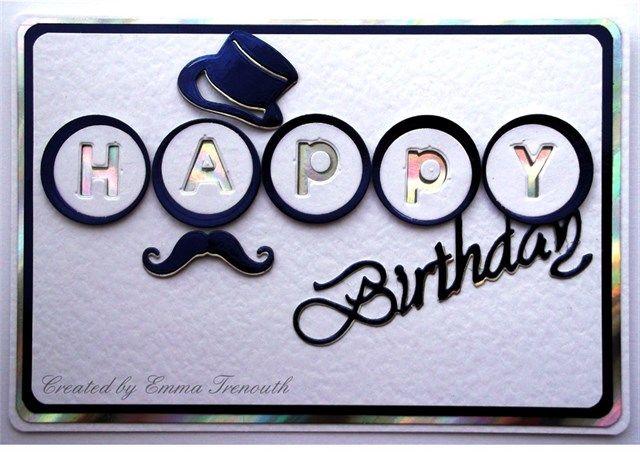 Male Birthday card, memory box alpha die, top hat, mustache
