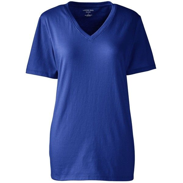 Lands' End Women's Petite Relaxed Supima V-neck T-shirt (1.245 RUB) ❤ liked on Polyvore featuring tops, t-shirts, blue, blue v neck t shirt, american tees, blue t shirt, petite t shirts and cotton tees