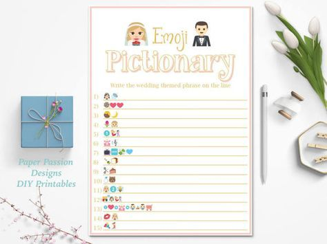 Wedding Emoji Pictionary Game ~Pink and Gold Bridal Shower ~Instant Download Bridal Shower Game  This listing is for an Emoji Pictionary game. A classic turned modern shower game for your guests. Answer Key is included  Name: Bridal Emoji Pictionary Pattern: Simple Pink  Please note games are not editable. If you would like to customize please convo me.  ***THIS IS DIGITAL DOWNLOAD ITEM*** NO PHYSICAL ITEM WILL BE SHIPPED.  BUY 2 GAMES GET 1 GAME FREE ************************************ −…