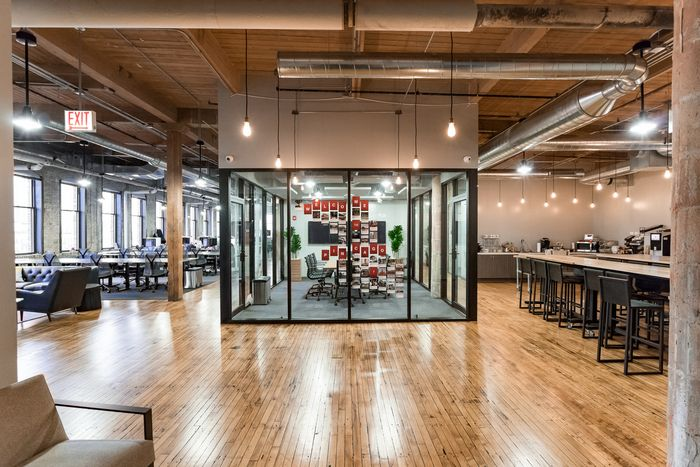 """Pinterest Offices – Chicago   The design is meant to incorporate Pinterest's """"Chicago pride"""" throughout the space while maintaining the company's national standards."""