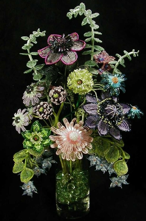 French Beaded Flowers by Boa's Botanicals.  Everything about this bouquet is superb - design, bead colours and quality of beading!  Curleytop1.
