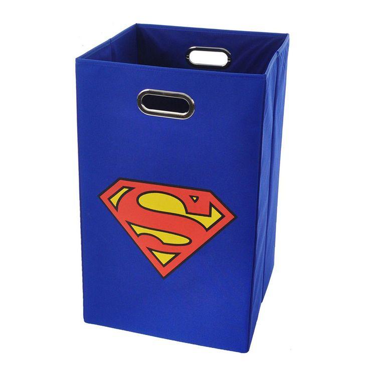 Superman Logo Collapsible Laundry Basket, Blue