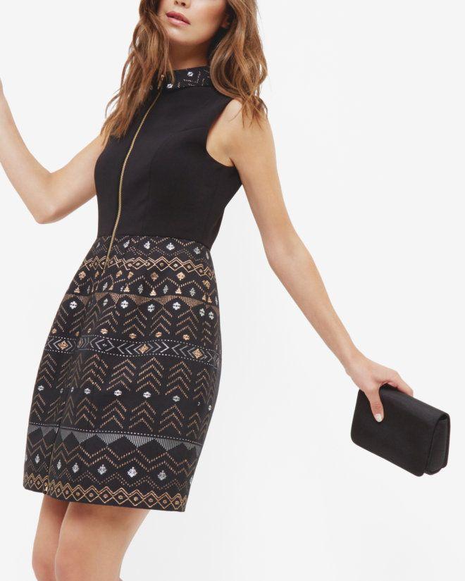 Deco zip front dress - Black | Dresses | Ted Baker ROW