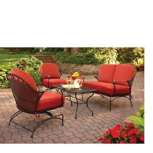 Red Outdoor Patio Furniture Set 4 Pcs Black Metal Cushions Loveseat Chairs  Table #BHGFurniture