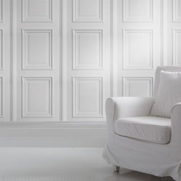 The White Panelling wallpaper is inspired by Georgian architectural details and features white decorative panels for a classy and classic look. It can be used to create a bright elegant feel reminiscent of stately homes, Georgian conservatories and posh hotels! Perfect for feature walls or a whole room.
