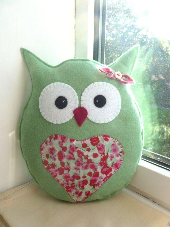 Handmade Felt Owl Pillow Lavender Scented by SewJuneJones on Etsy, £12.00
