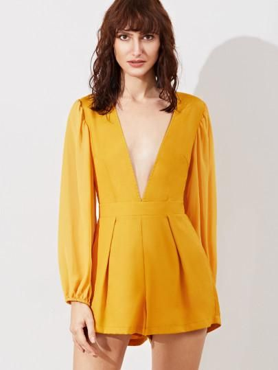 yellow v neck romper, long sleeve low v neck romper, yellow jumpsuit outfit - Lyfie