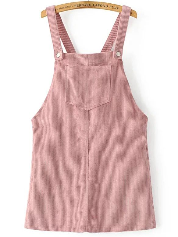 Shop Pink Corduroy Overall Dress With Pocket Online Shein