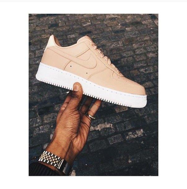 shoes nike nike air force pink beige nude sneakers white 1' 07 season