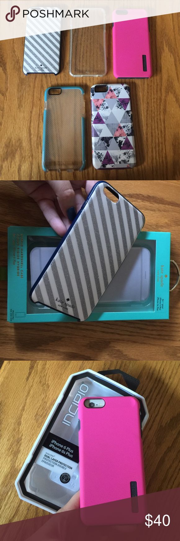 Lot of iPhone 6 PLUS cases Getting rid of these due to the release of the iPhone 7! Two come with original packaging. The Kate spade is a hybrid shell (has some scratching on the back, see picture) otterbox is fully functional but does have some disconnected rubber (can't be seen when on phone) will separate if necessary. Come from a smoke free, pet free home. Make an offer  OtterBox Accessories Phone Cases