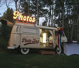 Idaho Photo Bus. Boise Photo Booth. A VW bus & photo booth...we don't think there is anything more iconic to add to your vintage-inspired wedding #wedding #photobooth #Photobus #boise #Idaho #VW