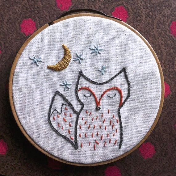 embroidery kit // foxy night - fox embroidery kit                                                                                                                                                                                 Mais