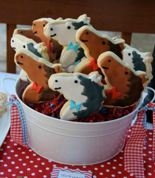 pony cookies for a barn themed birthday party
