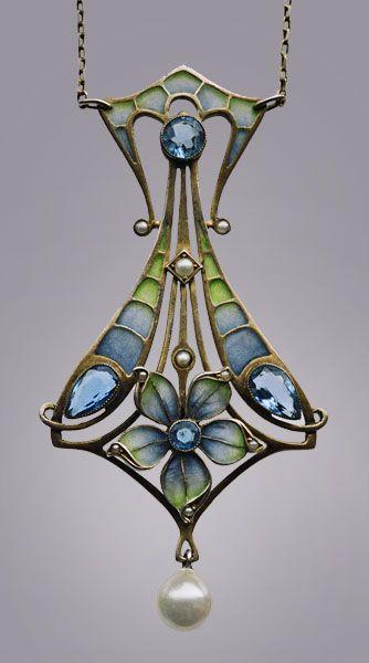 Jugendstil pendant by Carl Hermann | 1900 | Plique-à-jour enamel, silver gilt, aquamarines & pearls | Tadema Gallery - Privately held